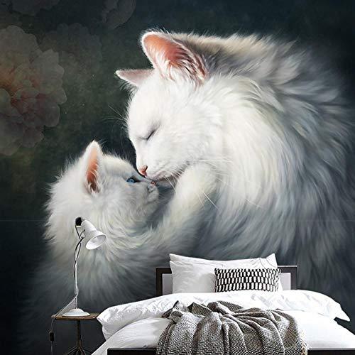 Hndrkj 3D Wandbild Fototapete Handgemalte Tapete Der Katzenportal-Hintergrundwand Des Großen Retro- Europäischen Wandstoffes Des Wandgemäldes 3D Kreative Kunst