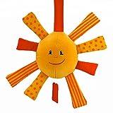 Spiel-Uhr Sonne - Baby-Spielzeug - mit Namensstickerei - von STEINER - Kuscheltier handgefertigt | Musik | verschiedene Melonien | Ertasten der Sonnenstrahlen für die ersten Greifversuche