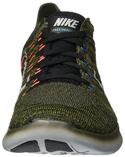 Nike Uomo Free Rn Flyknit Scarpe Running Marrón (Cargo Khaki / Black-Blue Glow-Bright Mango)