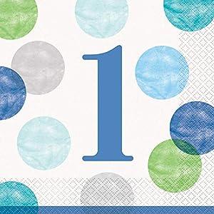 Unique Party 73302 - Servilletas de papel (16 unidades), diseño de lunares, color azul