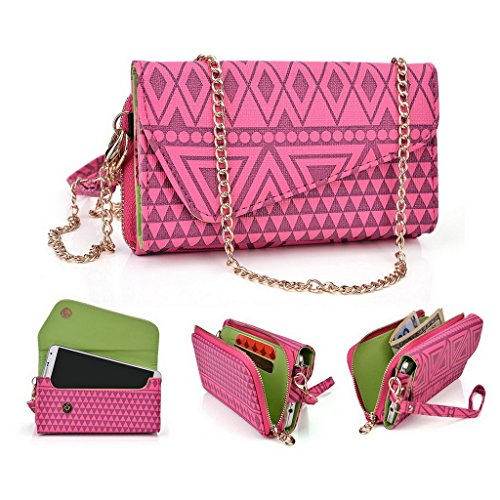 Kroo Tribal Style urbain pour téléphone portable Walllet embrayage adapté pour Sony Xperia Z2 multicolore Tan Brown Hot Pink