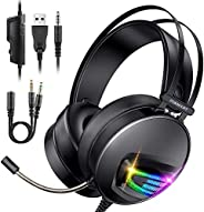 INSMART Cuffie Gaming, Cuffie Gaming PS4 con Microfono a Scomparsa, 50 mm Driver, 3.5 mm Jack RGB LED Stereo C