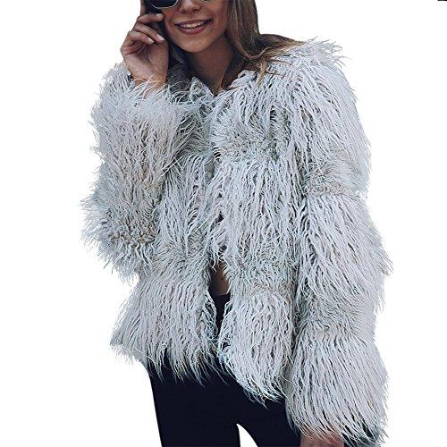 iBaste 2017 neu Damen Sexy modern Herbst Winter Einfarbig stückeln kurzer Absatz Jacke Fellmantel Parka Kunstpelz Mantel Grau