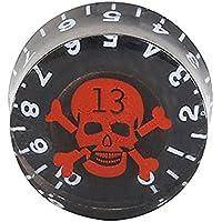 Perillas de guitarra - TOOGOO(R) 4 pzs Perillas de control de velocidad con Logotipo de craneo rojo Negro para Gibson Les Paul Reemplazo