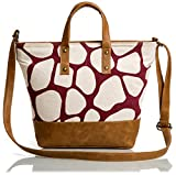 #7: Mammon Women's Pu Leather Canvas Sling bag Handbag (C-jiraf,35x27x9 Cm)