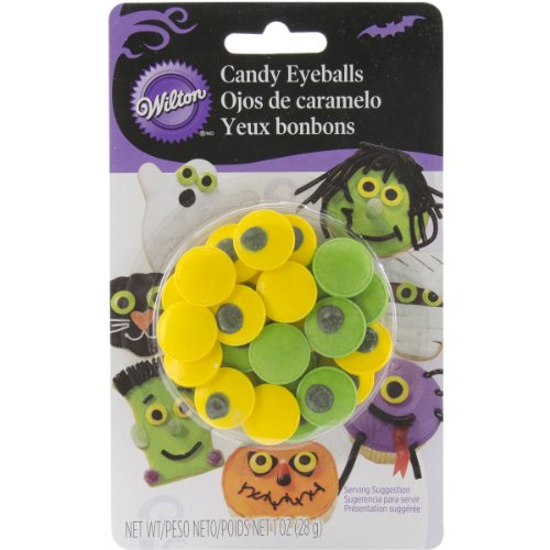 Wilton Candy Decorations 24/Pkg-Green & Yellow Eyeballs