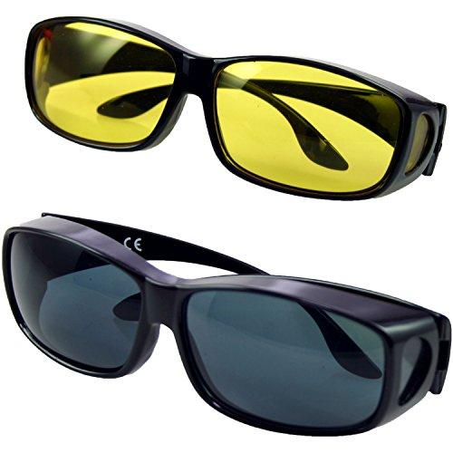 Tag und Nacht Überbrille | 2er Set | Sonnenbrille | Überziehbrille