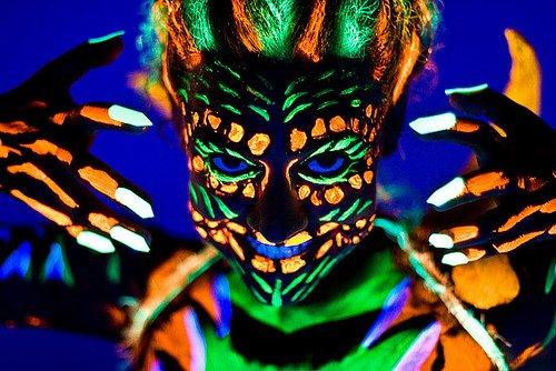 Neon Schwarzlicht Körpermalfarbe Uv Bodypaint Set 5x 25ml blau rot grün gelb weiß