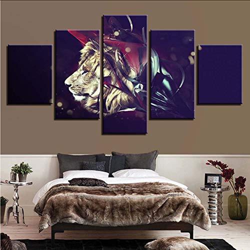 Wuwenw Dekor Leinwand Malerei Hd Drucke Startseite 5 Stücke Nacht Hintergrund Wand Kunst Lion Modularen Bilder Tier KunstwerkPoster, 4X6 / 8/10 Zoll, Mit Rahmen