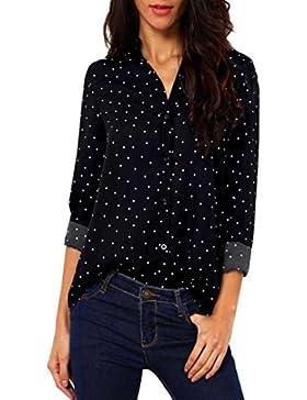 Vovotrade Mujeres de manga larga de gasa blusa de la camiseta