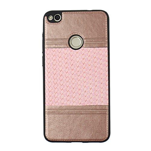 Cover Per Huawei P8 Lite 2017, Asnlove TPU Moda Morbida Custodia Linee Intrecciate Caso Elegante Ultra Sottile Cassa Braided Stile Tessere Case Bumper Per Huawei P8 Lite 2017 - Rosa Rosa