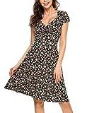 Zeagoo Damen Sommerkleider Wickelkleid Partykleid Vintage Blumen Kleid V-Ausschnitt Kurzarm Knielang Schwarz XL