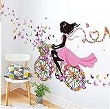 vasyle Fairy in Blume Release Schmetterling Wandtattoo für Mädchen Dekoration