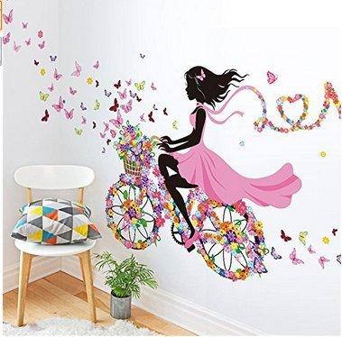 Adesivo da parete Vasyle, motivo: fatina danzante con fiori e farfalle, decorazione per ragazze.