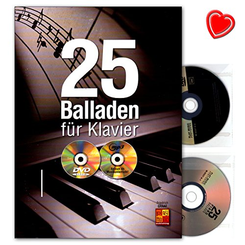 25 Balladen für Klavier: The Beatles, Keane, Ray Charles, Coldplay, David Bowie, Phil Collins, Alicia Keys, Louis Armstrong uvm - Autor: Friedrich Graaf - Notenbuch mit CD, DVD, Notenklammer