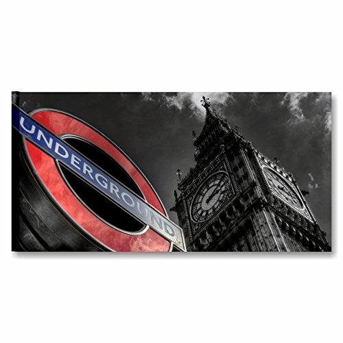 Karo L & C Italien London 5-90x 45cm Rahmen modern artiginale Made in Italy wandhängend Drucke auf Leinwand Deko Stadt Big Ben Underground Weiß Schwarz -