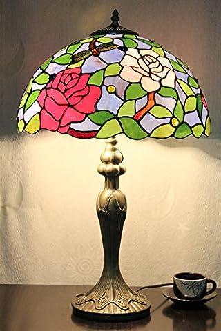 16 Zoll Rose und Libellen Vintage-Pastoral Luxus Europäische Tiffany Tischlampe Schreibtischlampe Nachttischlampe