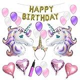"""Fiittree Einhorn Luftballons Geburtstagsfeier Dekorations Kit """"Happy Birthday"""" Buchstaben Ballons Luftballons Stück Stern-Perfekte Geburtstagsfeier Liefert für Jungen und Kinder"""