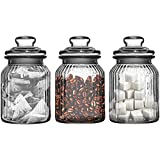 from Get Goods Set Of Three Storage Jars 990ml Ribbed Glass Tea Coffee Sugar Model 1209756