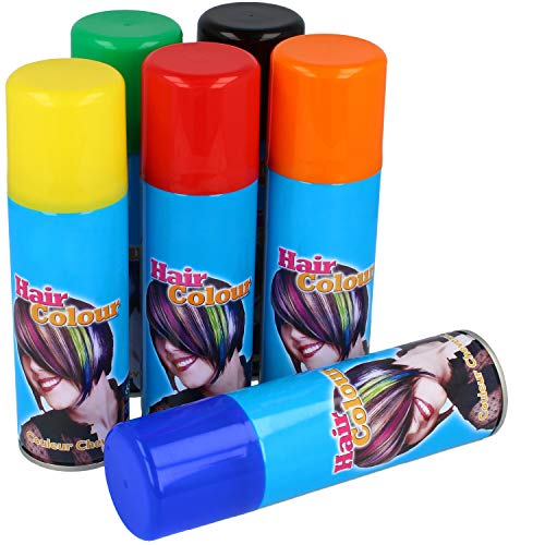 com-four® 6X Color Haarspray - je 125 ml Haar-Farb-Spray in den Farben rot, grün, gelb, schwarz, orange und blau (06 Stück - Mix 2)