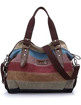 Tancurry Damen Handtaschen Umhängetasche Schultertasche Multi-Color-Striped Vintage Canvas Tasche.