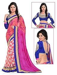 Khodiyar Creation Women's Multicolored Printed Georgette Weightless Print And Bhagalpuri Blouse Partywear Saree