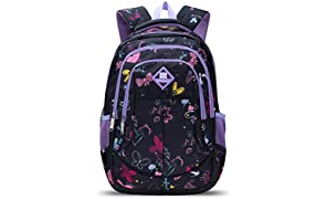 Bebamour Children Backpack School Bag Backpack for Girls Butterfly and Sweetheart Pattern Kids Backpack