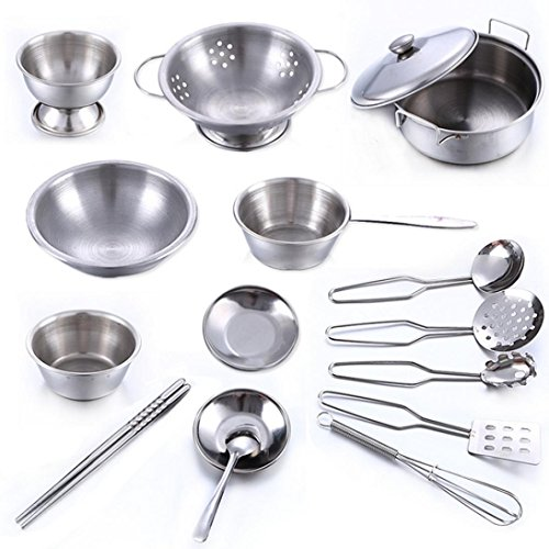 Pretend Play Toys, MML 16/25 Pcs Set Kids Play House Kitchen Toys Cookware Cooking Utensils Pots Pans Gift (Silver-2)