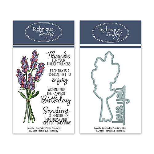 Lovely Lavendel Clear Stamps & Schablonen-Set - Photopolymer-Stempel - Transparente Gummistempel & passende Metallstanzformen & Stanzformen -