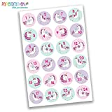Papierdrachen 24 Adventskalender Zahlen Aufkleber - Einhorn Nr 28 - Sticker 4 cm - zum Basteln und Dekorieren