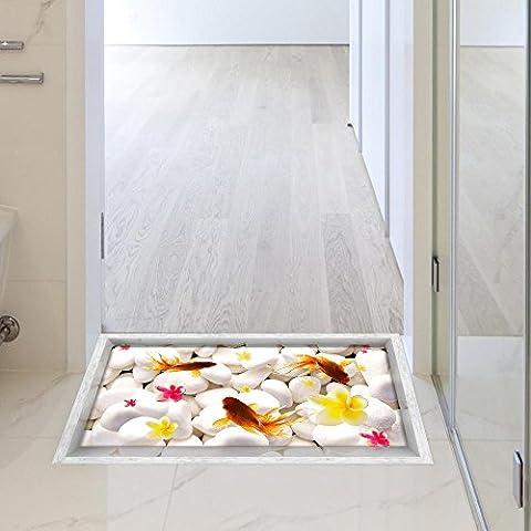FEI&S 3D Cuarto de baño waterproof taped rutschfeste Pebble Goldfisch los autoadhesivos insignias salón suelo cocina comedor Baño completo en el suelo de 900*580mm (35,4 en*22,8 en)