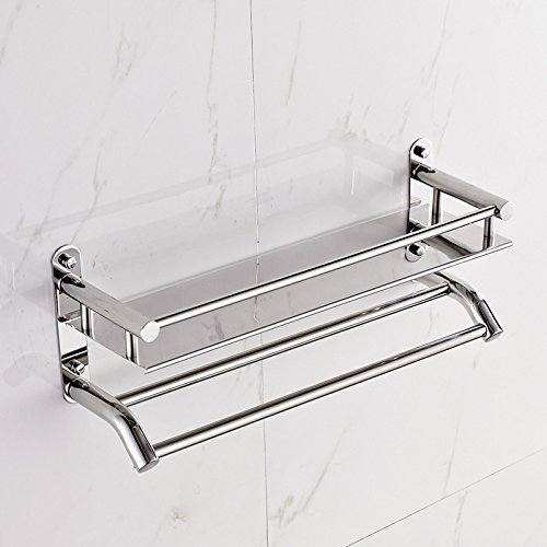 Stainless Steel Shelf Wall-mounted Storage Rack Single Layer Kitchen Bathroom