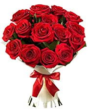 GoldenCart Roses Fresh Flower Bouquet (Red) -Bunch of 12