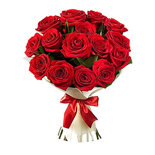 GoldenCart Fresh Flower Delivery of Garden Fresh ROSES FRESH FLOWER BOUQUET to Convey that 'special feeling' of 'Pure love and Commitment' to your loved ones (Bunch of 12, Red)
