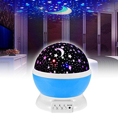 EMOTREE LED Projektor Sternenhimmel Nachtlicht Kinder Baby Geschenk Einschlafhilfe Nachtlampe Blau Kinderzimmer