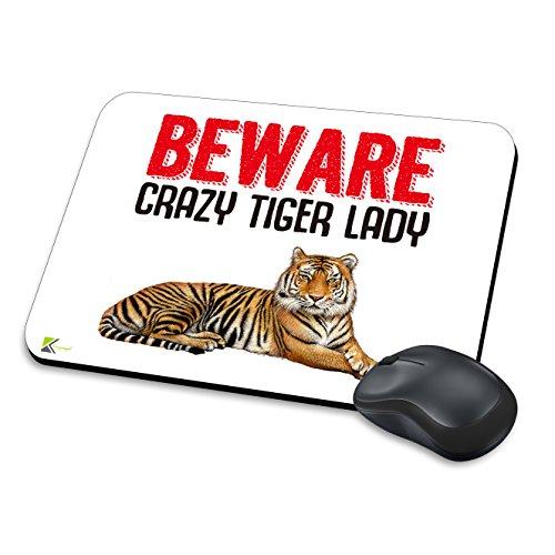 MM102-Beware Crazy Tiger Lady Funny Neuheit Geschenk Mauspad/Mousepad rutschfeste Laptop Computer PC Mauspad - Tiger Neuheit