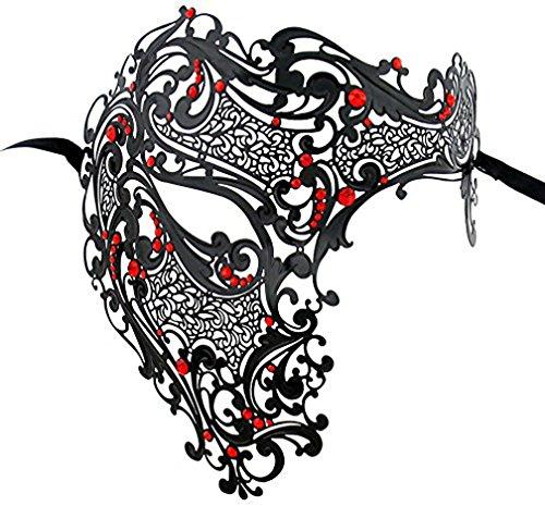 Funpa Mens Metall Maske Luxus Maske Phantom der Oper Halbe Gesichtsmaske Party Maske