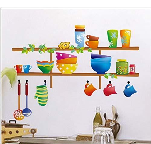 Wiwhy Bunte Küche Regale Wandaufkleber Cartoon Schüssel Kürbis Schöpflöffel Scoop Geschirr Wandtattoo Für Küche Esszimmer Room Decor 40X60 Cm