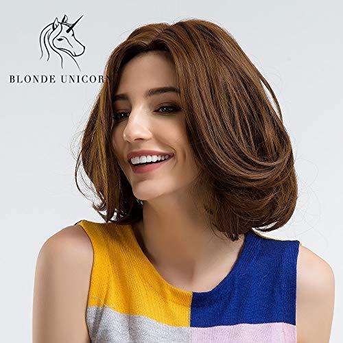 CXQBLONDE UNICORN 10 Inch Short Straihgt Synthetische Perücken mit Pony-Seitenteil Dunkelbraune Volle Kopflose Perücke für Frauen
