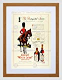 VINTAGE AD ALCOHOL WHISKY SCOTCH SCOTS GUARD HORSEMAN FRAMED PRINT B12X11504