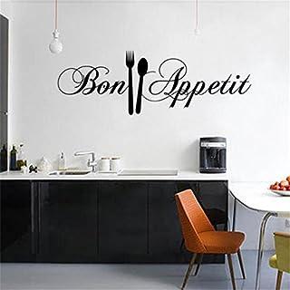 Bon AppéTit Citations Sticker Mural Art Stickers Art Salon Cuisine Restaurant Vinyle DéCoration Couteau Et Fourchette DIY Wall Mural Famille Accueil Autocollant-Dinglong