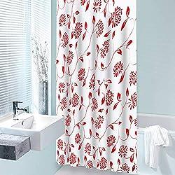 casa pura Rideau de Douche Barock Red | 2 hauteurs | avec 12 Anneaux ovales | certifié SGS EN-14362-1, Lavable en Machine | matière résistante, 180x200cm