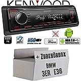 BMW 3er E36 - Autoradio Radio Kenwood KMM-204 - MP3 | USB | iPhone - Android - Einbauzubehör - Einbauset