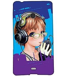 Fuson Music Girl Back Case Cover for NOKIA MICROSOFT LUMIA N540 - D3865