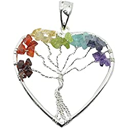 7 Chakra Tree Of Life Heart Shape Crystal Pendant Healing Gemstone For Unisex