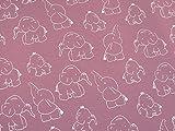 0,5m Jersey Elefanten beere rosa Motivgröße ca. 10cm 5% Elasthan 95% Baumwolle Meterware 140cm breit