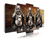 DekoArte 186 - Cuadro moderno en lienzo 5 piezas XXL estilo zen tres budas ver, oir y callar, 200x3x100cm