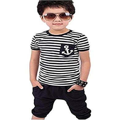 Zerototens New Summer Children Clothing Set for 2-8 Years Old Kids,Toddler Boys Short Sleeve Navy Striped T-Shirt and Short Pants Suits Navy Wind Striped Suit Casual Sportwear : everything five pounds (or less!)