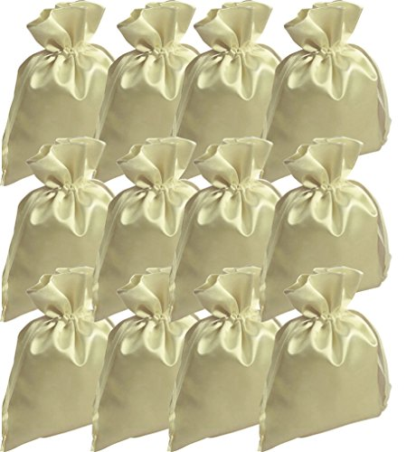 12 Satin-Beutel crème, 15 x 10 cm (Satin-beutel)