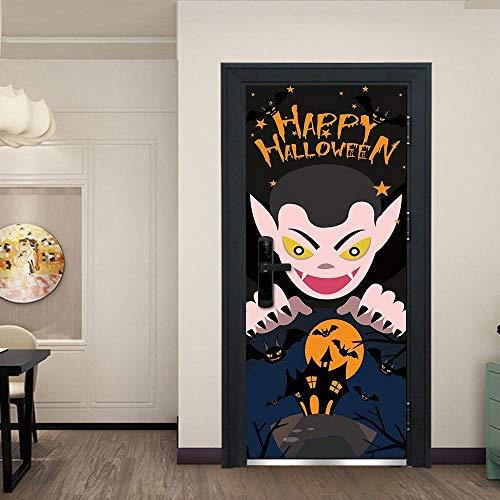 XCGZ Türaufkleber Dekorativer Wandaufkleber des kreativen Türaufklebers Cartoon-Vampirs Dracula Halloween